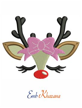 Reindeer Face Embroidery Design