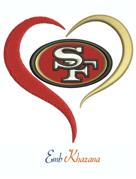 San Francisco 49ers Football Heart Logo Machine Embroidery Design