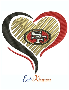 San Francisco 49ers Heart Logo Machine Embroidery Design