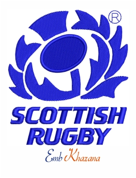 Scottish rugby logo embroidery design
