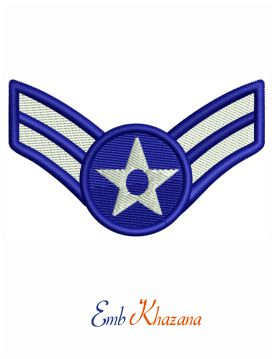 Senior airman insignia embroidery design