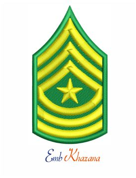Sergeant major insignia army embroidery design