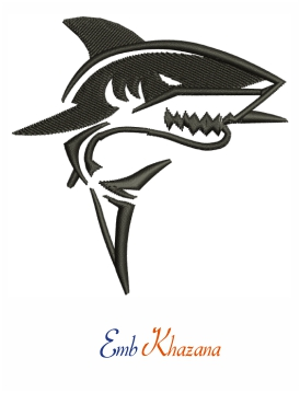 Shark Fish Embroidery Design