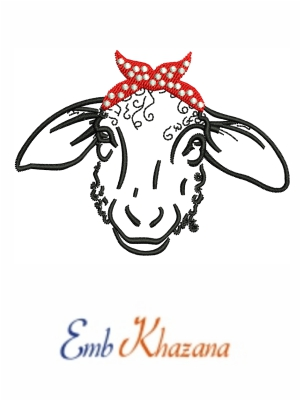 Sheep head with Bandana embroidery design