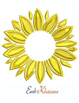 Single Layer Yellow Sunflower Machine Embroidery Design