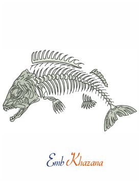 Skeleton of Fish embroidery design