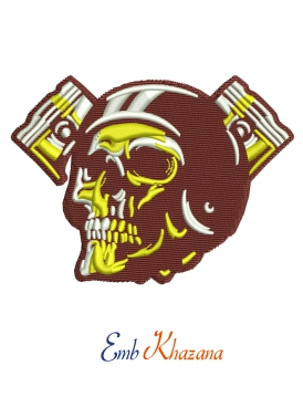 Skull ghost rider road biker embroidery design