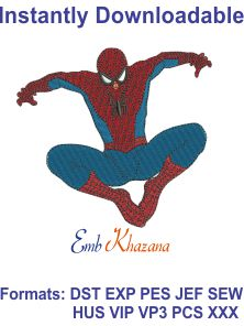 spiderman machine embroidery design