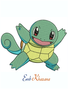 Squirtle Pokemon Machine Embroidery Design