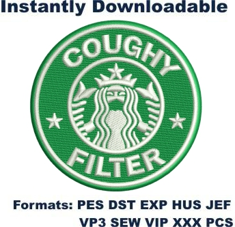 Starbucks coughy filter embroidery design