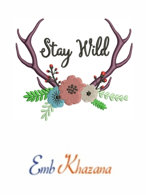 Antlers and flowers embroidery design