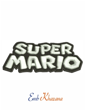 Super Mario logo black and white machine embroidery design
