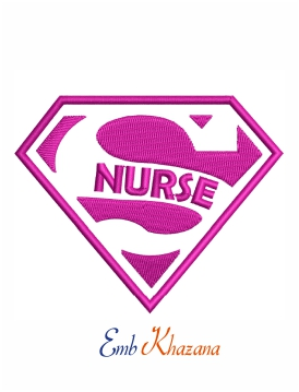 Super Nurse logo machine embroidery design