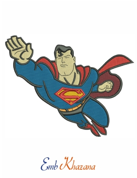 superman flying embroidery design