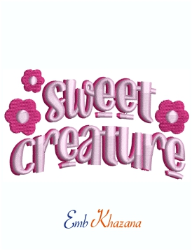 Sweet Creature logo Machine Embroidery Design