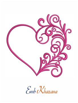 Swirly heart digital embroidery design