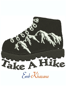 Take a Hike logo machine embroidery design