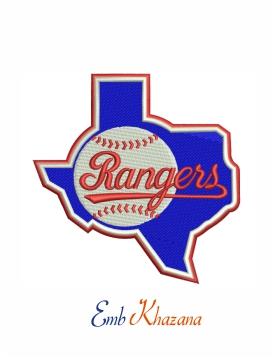 Texas Rangers logo embroidery design