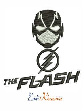 The Flash head and black & white logo machine embroidery design