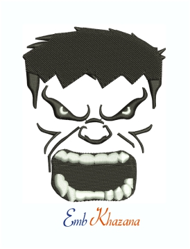 The Incredible Hulk Face black and white logo machine embroidery design