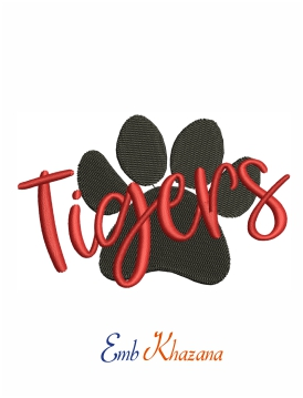 Tigers paw logo machine embroidery design