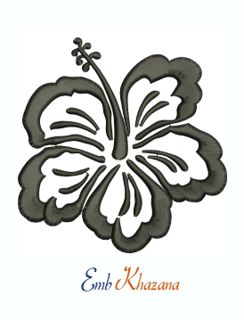 Tropical Black & White Hibiscus Flower Machine Embroidery Design