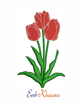 Tulip flower machine embroidery design