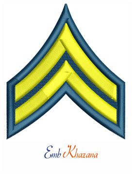 US Army corporal rank insignia embroidery design