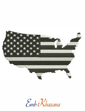 US Flag With Map