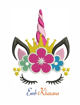Unicorn Face with Floral crown machine embroidery design