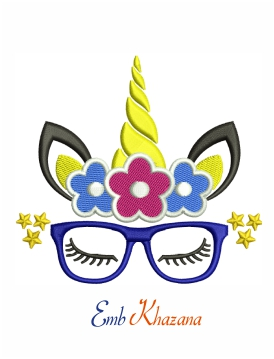 Unicorn face with glasses and flowers machine embroidery design
