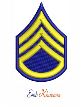United States Army Staff Sergeant insignia embroidery design