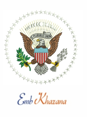 Usa President Flag Embroidery Design