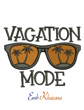 Vacation Mode Logo Machine Embroidery Design