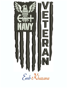 Navy Veteran Distressed USA American Flag Machine Embroidery Design