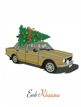 Vintage car with christmas tree embroidery design