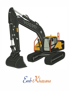Volvo digger embroidery design