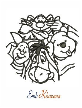 Winnie the pooh black and white machine embroidery design