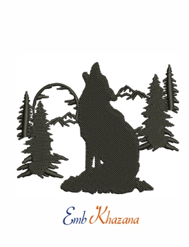 Howling wolf machine embroidery design