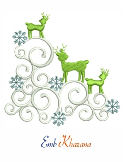 Xmas Deer Embroidery Pattern