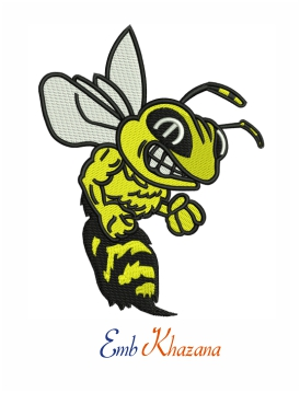 Yellow jackets logo embroidery design