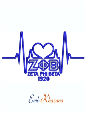 ZETA PHI BETA Heart Beat Machine Embroidery Design