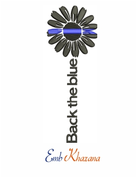 Police flower machine embroidery design