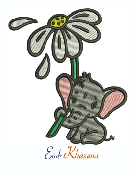 Baby Elephant machine embroidery design