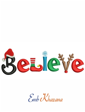 Believe embroidery design for machine