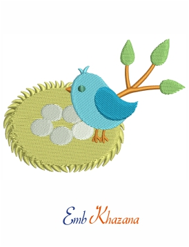 bird with nest Embroidery design