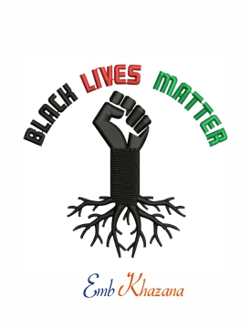 Black lives matter logo machine embroidery design