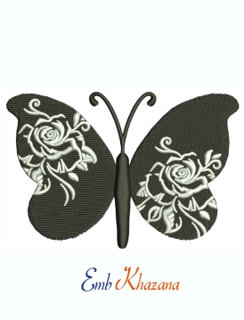 Butterfly With Rose Printed Wings Machine Embroidery Design
