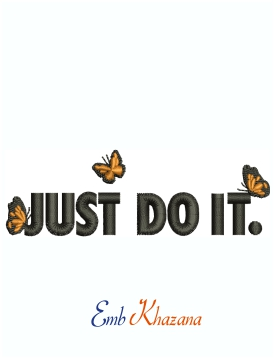 Just Do It Butterfly logo embroidery design