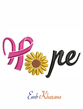 Hope to breast cancer awareness machine embroidery design